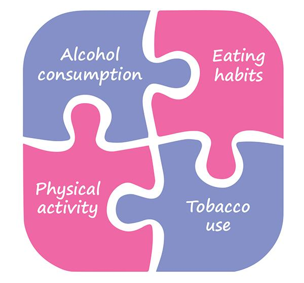 Alcohol consumption. Eating habits. Tobacco use. Physical activity.